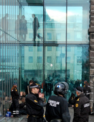 Authority: Behind the glass is one Björn Bjarnason, Minister of Justice untill January 2009