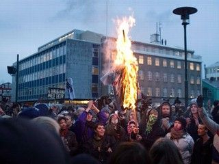 Iceland protest fire 