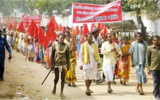 1000 tribals and farmers rally against the Niyamgiri mine at Muniguda, Odisha on Monday