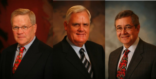 John P. O'Brien (left), Willy R. Strothotte (cenre) and Jack E. Thompson (right)