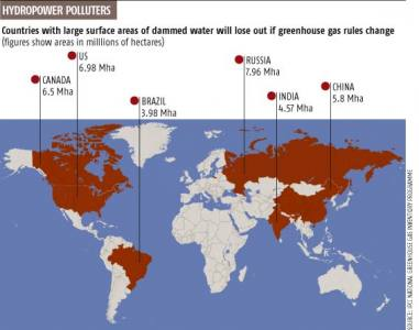Map showing overview of significant GHG production from dams per country
