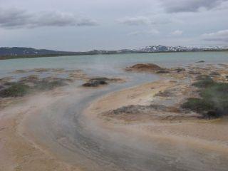 The Þeistareykir effluent lagoon, with stream coming from boreholes