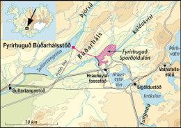 Kort af Búðarhálsvirkjun