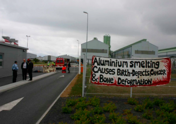 Banner at Saving Iceland\'s blockade of RioTinto-ALCAN\'s Straumsvik smelter, 2007.