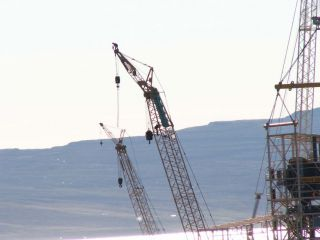 Crane Action at the Alcoa construction site