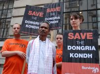 Protesting in front of Vedanta's meetings