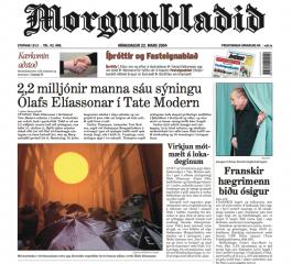 Frontpage of Morgunblaðið