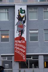 Anti-IMF Banner Drop in Reykjavík