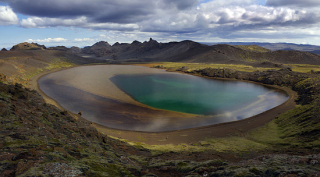 Lake Arnarvatn, by Sveifluháls in Krýsuvík, where electricity lines will be located. Photo: Ellert Grétarsson