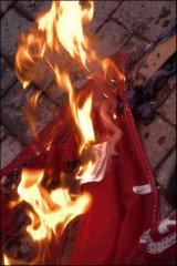 Burning money and bank-flag