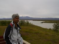 Samarendra Das with the river Þjórsá in the background