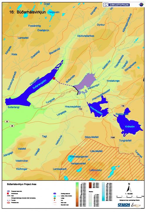Budarhalsvirkjun, project overview map
