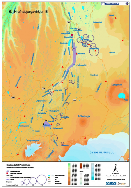 Projected dams and reservoirs in Skjalfandafljot