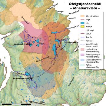 Kort Snæbjarnar Guðmundssonar af fyrirhuguðu iðnaðarsvæði á Ófeigsfjarðarheiði