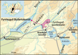 Map showing Búðarháls-powerplant
